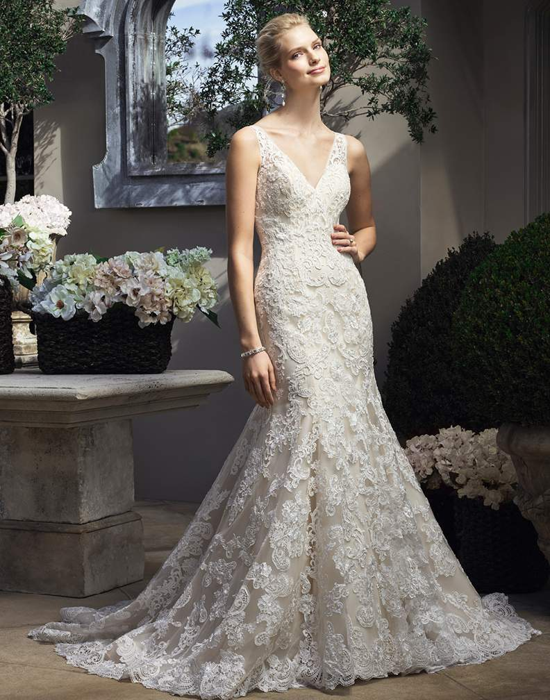 Casablanca Lace Strapless Wedding Dress with Crystals