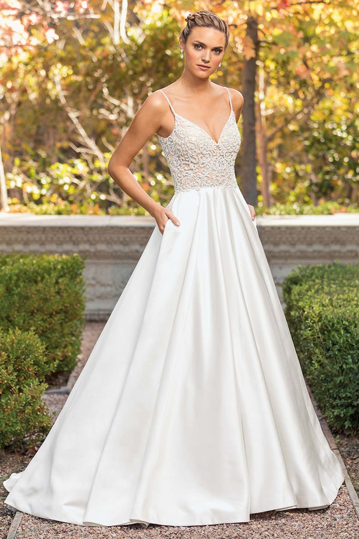 Satin Gown with Pockets, Casablanca Bridal Style 2347