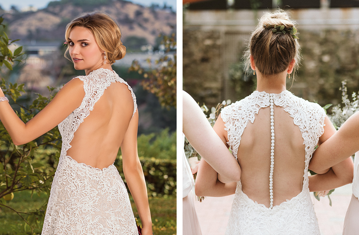 Casablanca Custom Wedding Dress: Style 2345 Vienna + Buttons & Illusion Keyhole Back | Vintage Lace Wedding Dress by Casablanca Bridal