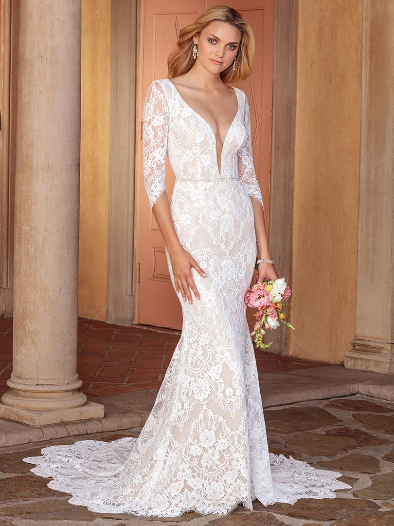 Top 6 Plunging V-Neckline Wedding Dresses by Casablanca Bridal | Style 2331 Ainsley