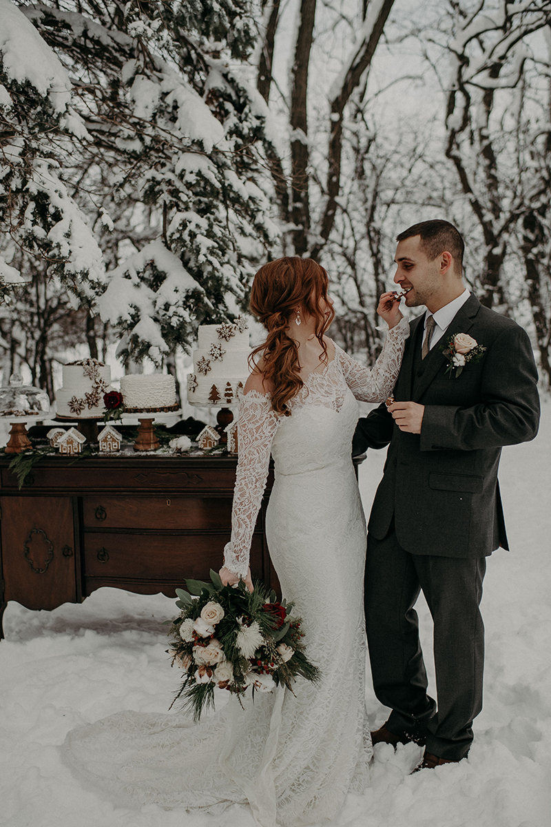 Christmas Elopement Wedding Inspiration: Style 2169 by Casablanca Bridal | Long Sleeve Lace Wedding Dress
