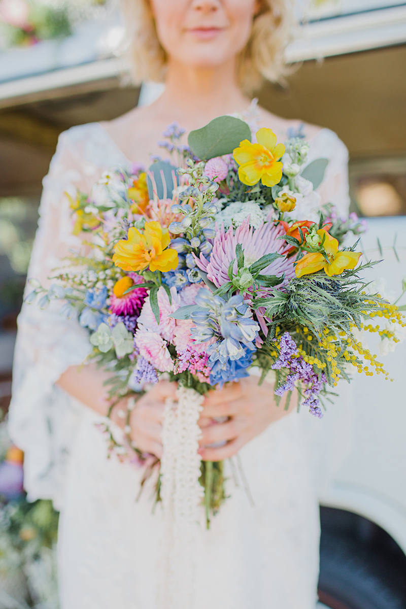 Bright Wildflower Bridal Bouquet + Style BL252 | Top 10 Best Wedding Dress and Bridal Bouquet Pairings by Casablanca Bridal