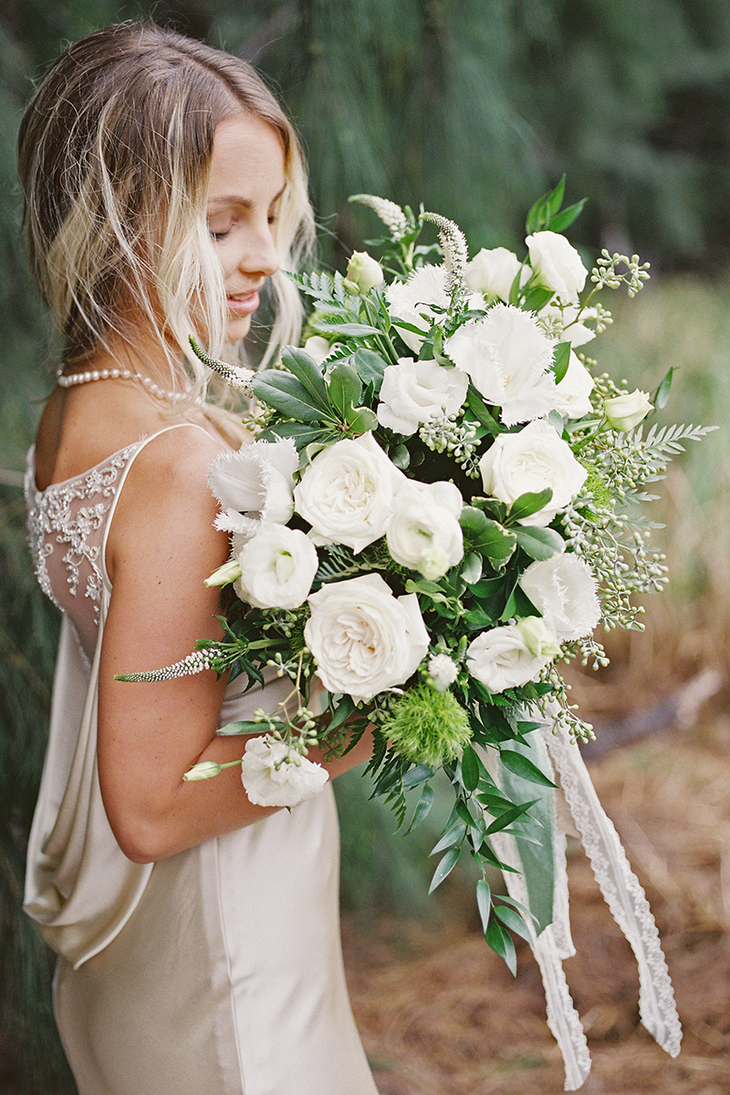 Classic White Roses Bridal Bouquet + Style B076 | Top 10 Best Wedding Dress and Bridal Bouquet Pairings by Casablanca Bridal