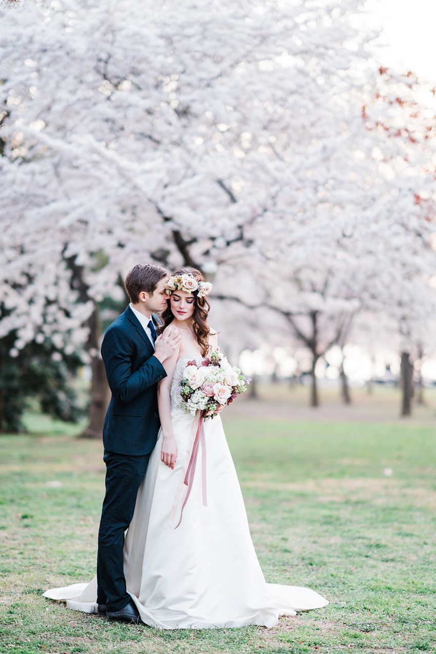 Romantic White Cherry Blossom Styled Shoot | Casablanca Bridal Style 2299