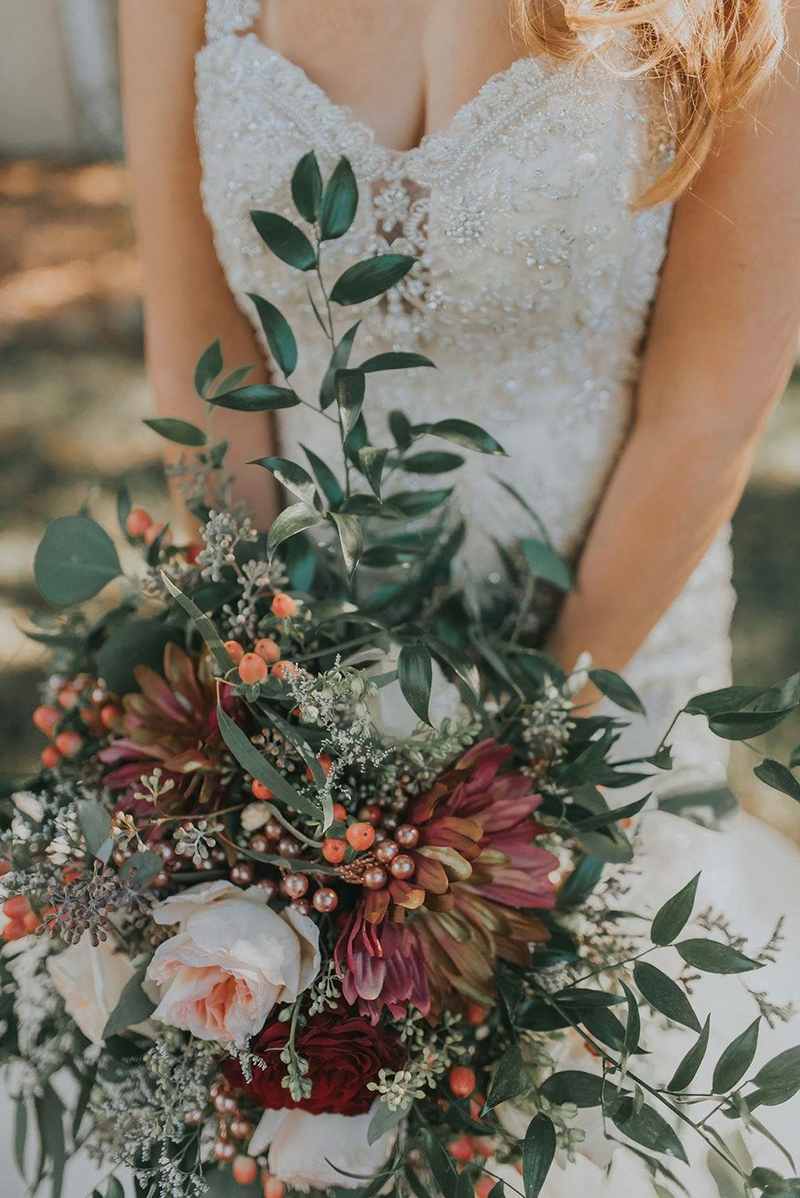Deep Green & Red Bridal Bouquet + Style 2307 | Top 10 Best Wedding Dress and Bridal Bouquet Pairings by Casablanca Bridal