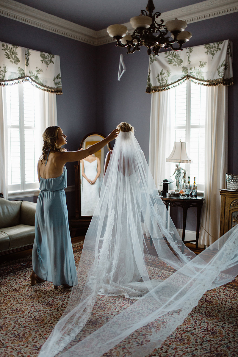 Southern Classic Light Blue & Gold Wedding: Style 1975 by Casablanca Bridal | Fit and Flare Lace Wedding Dress