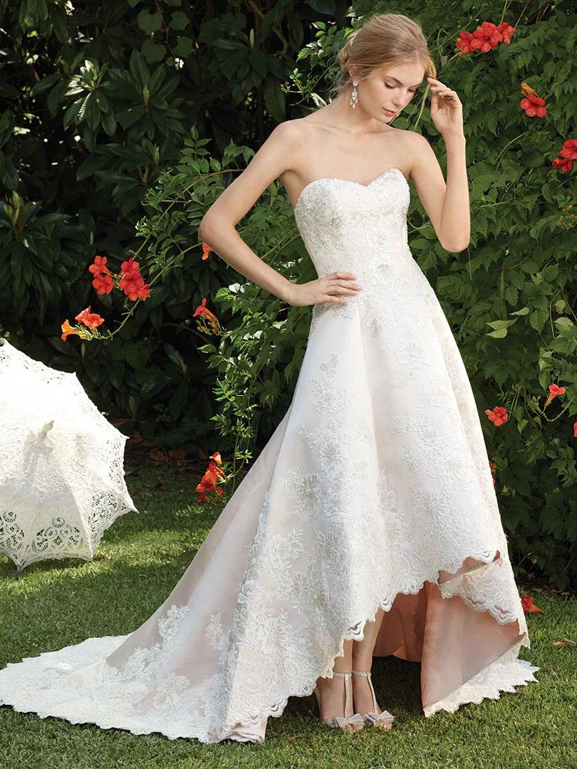 Hi Low Hemline Wedding Dress In Blush Casabalnca Bridal