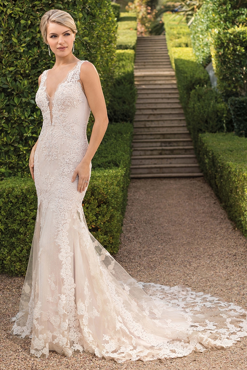 Top 6 Plunging V-Neckline Wedding Dresses by Casablanca Bridal | Style 2343 Evelyn