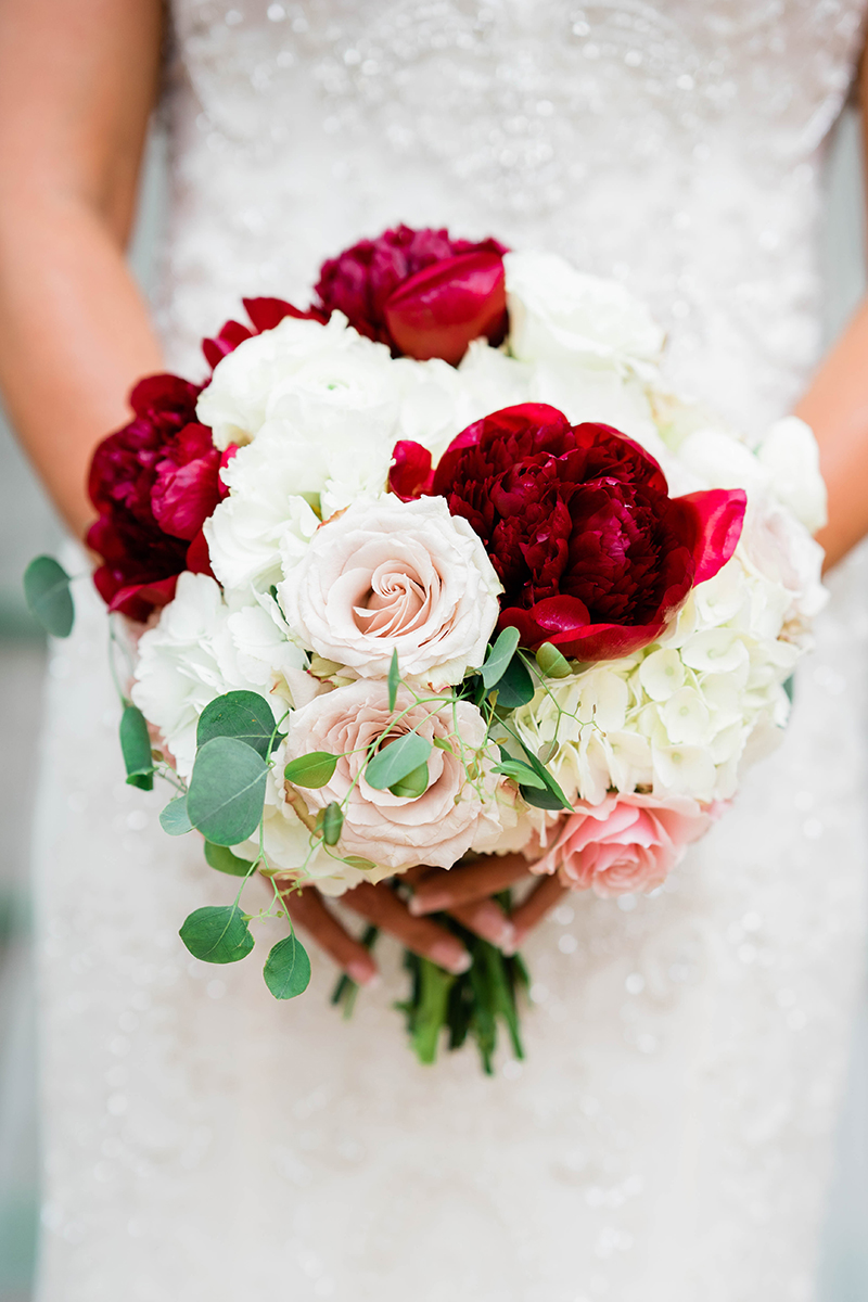 Vibrant Red Peonies & Pink Rose Bridal Bouquet + Style 2323 | Top 10 Best Wedding Dress and Bridal Bouquet Pairings by Casablanca Bridal