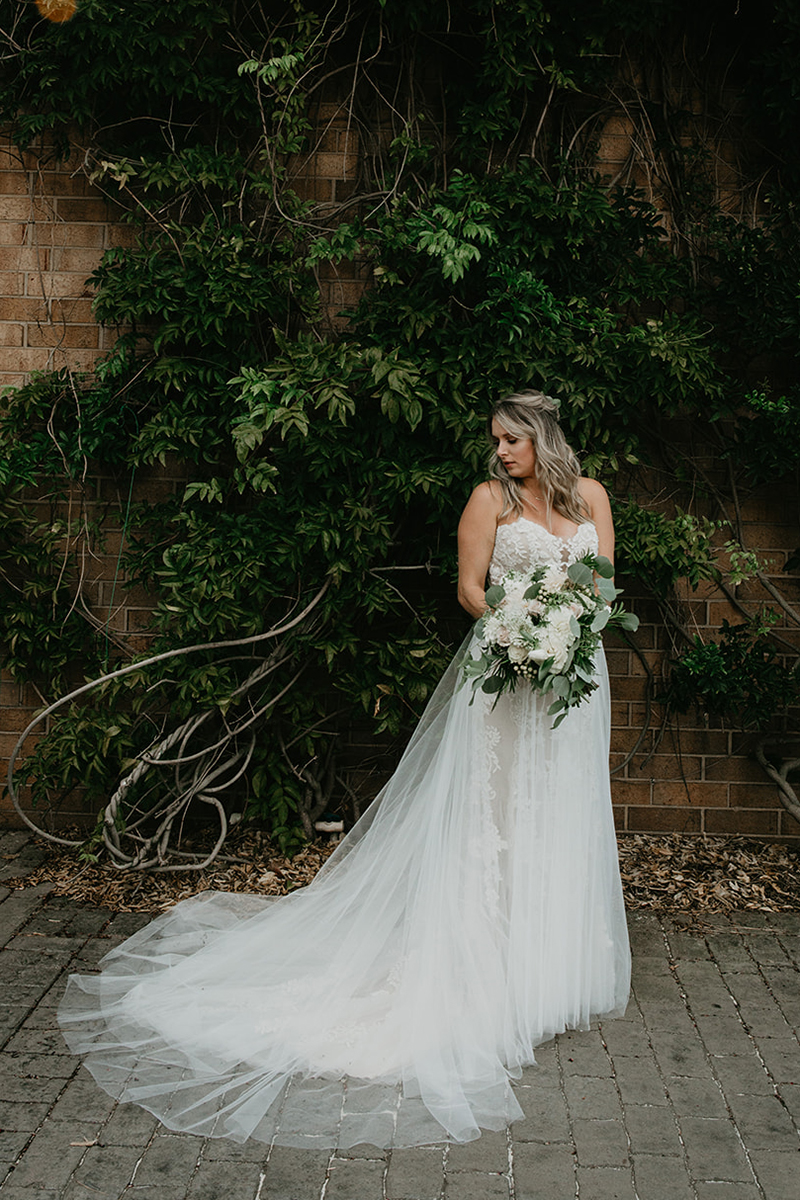 Casablanca Bridal Real Bride: Kristina in Style 2325 Masie + Overskirt | Lace Wedding Dress with Nude Underlay