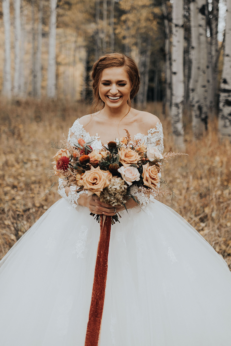 Fall Wedding Inspiration: Styled Shoot in Style 2309 Elsie | Long Sleeve Lace Ballgown Wedding Dress