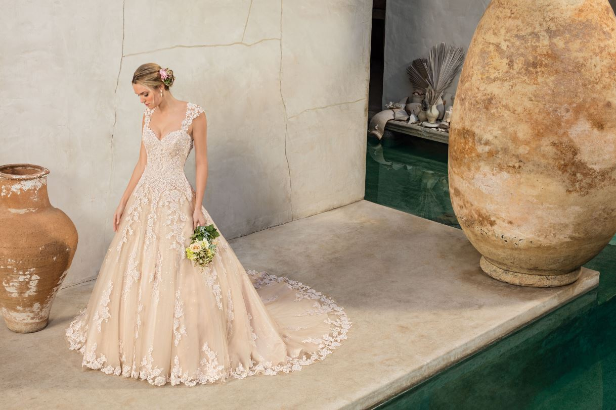 Blush, Champagne and Ivory 2-in-1 Wedding Dress | Casablanca Bridal ...