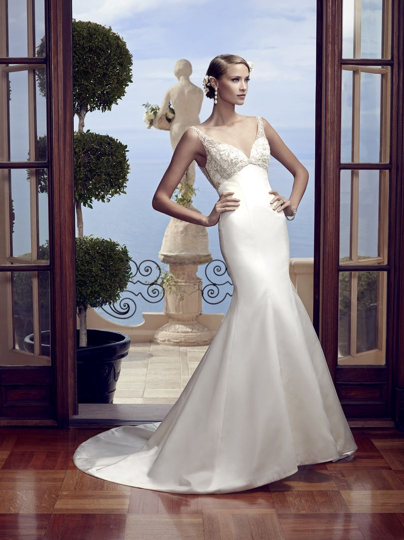 The Beading Halts Just Below Brides Bust Creating A Flattering Empire Waistline Over