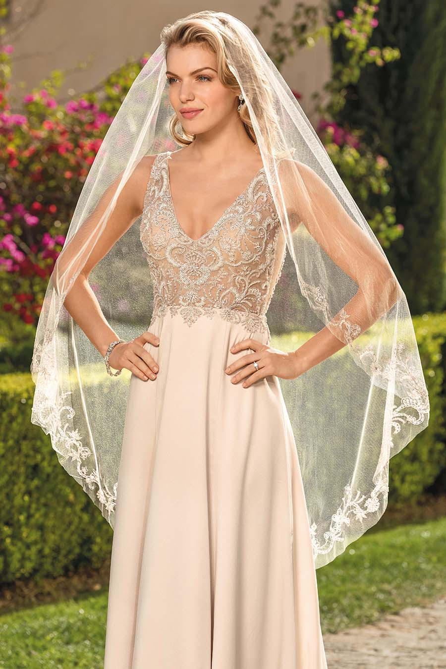 Style 2344 Rosa | Satin Blush Vintage Wedding Dress With Detachable Cap Sleeves and Lining and Veil