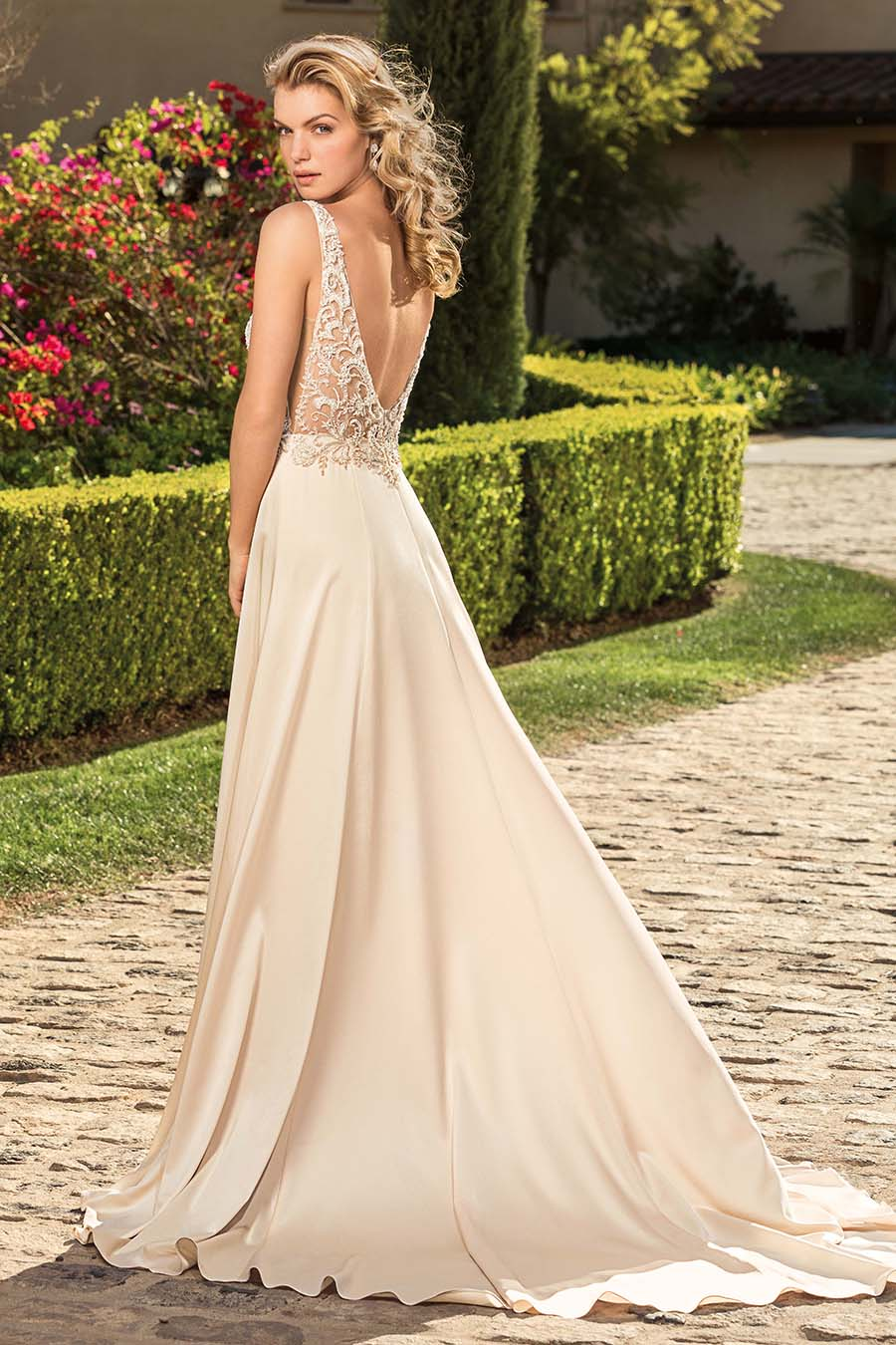 Style 2344 Rosa | Satin Blush Vintage Wedding Dress With Detachable Cap Sleeves and Lining